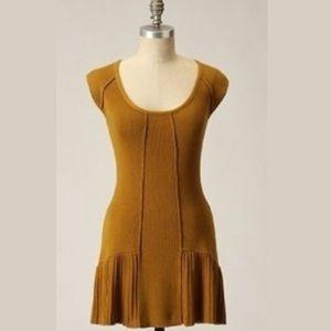 Anthropologie Guinevere mustard sweater dress